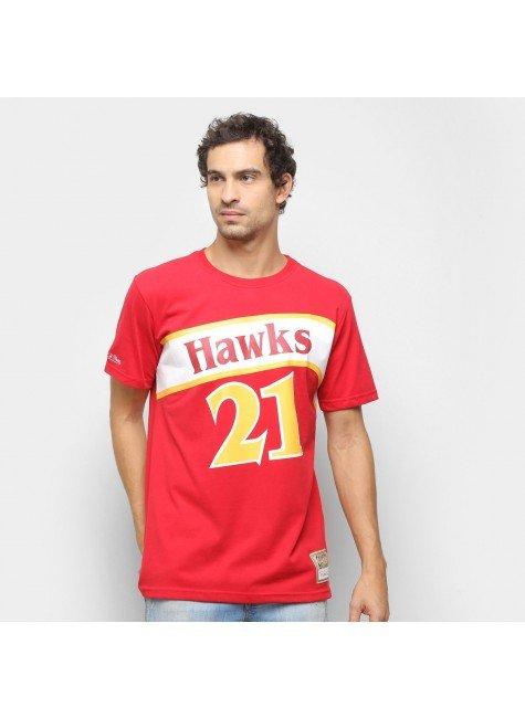 camiseta atlanta hawks wilkins mitchell ness masculina vermelho hyped 91