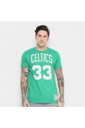 camiseta nba boston celtics mitchell ness n 33 larry bird masculina verde hyped 91