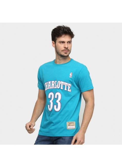 camiseta nba charlotte hornets n 33 alonzo mourning mitchell ness masculina verde hyped 91