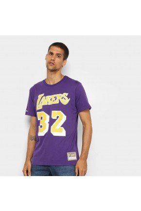 camiseta nba los angeles lakers n 32 magic johnson mitchell ness masculina roxo hyped 91
