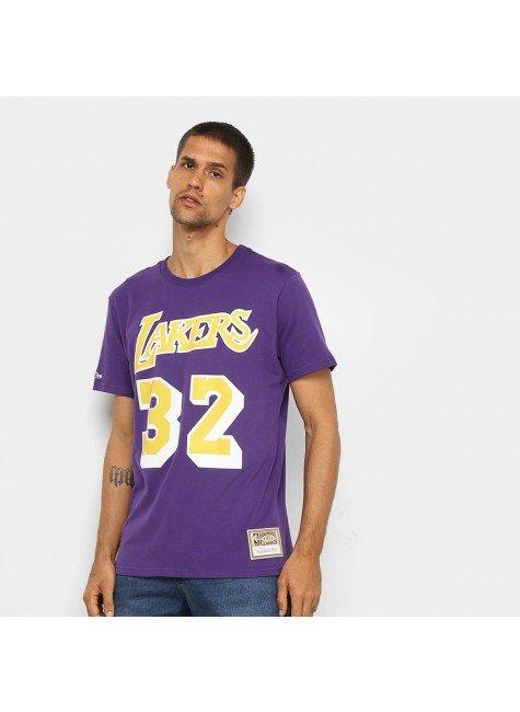 camiseta nba los angeles lakers n 32 magic johnson mitchell ness masculina roxo hyped 91