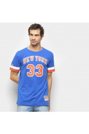 camiseta nba new york knicks n 33 patrick ewing mitchell ness masculina azul hyped 91
