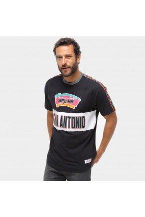 camiseta mitchell ness san antonio spurs masculina preto hyped 91