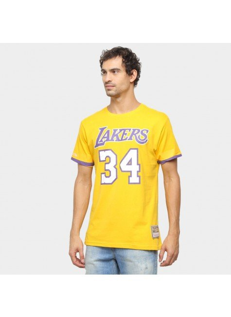 camiseta los angeles lakers o neal mitchell ness amarela hyped 91