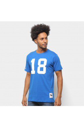 camiseta nfl indianapolis colts n 18 peyton manning mitchell ness masculina azul royal hyped 91