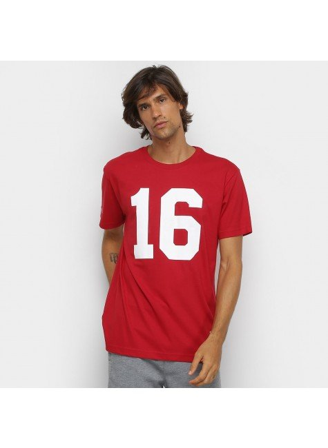 camiseta nfl san francisco 49ees n 16 joe montana mitchell ness masculina vermelho hyped 91
