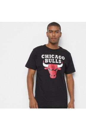 camiseta nba chicago bulls big logo masculina preto hyped 91