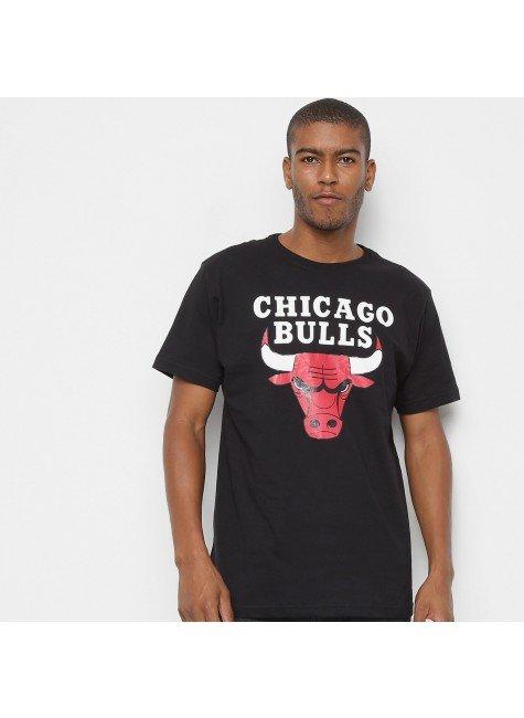 camiseta nba chicago bulls big logo masculina preto hyped 91