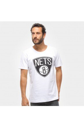 camiseta nba brooklyn nets big logo masculina branco hyped 91