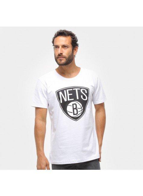 camiseta nba brooklyn nets big logo masculina branco hyped 91