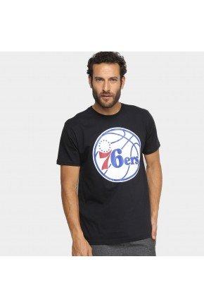 Camiseta NBA Philadelphia 76ers Masculina   Preto e branco  hyped91