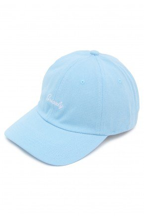 bone grizzly mini cursive dad hat aba curva strapback azul hyped 91 2