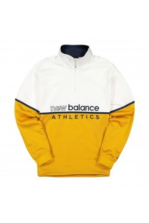 jaqueta new balance athletics flecce amarela branca hyped 91