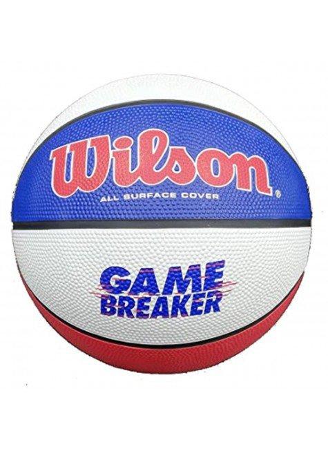 bola de basquete wilson game breaker n 7 branco azul vermelho hyped 91