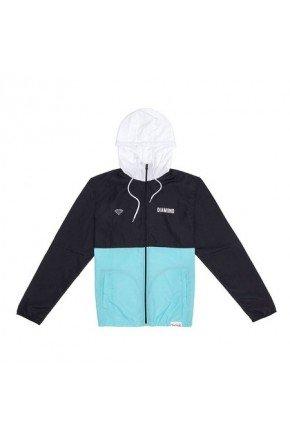jaqueta corta vento diamond contrast preto branco verde hyped 91
