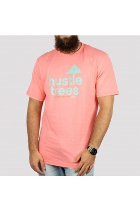 camiseta lrg hustle trees rosa coral hyped 91