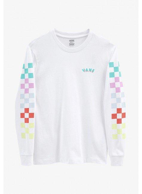 camiseta feminina vans manga longa dotty check ls branca hyped 91 4