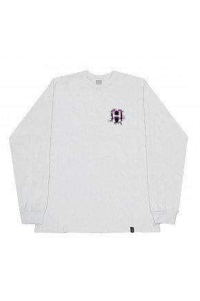 camiseta huf manga longa giga melted masculina branca hyped 91