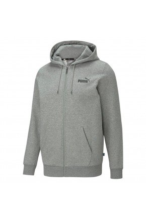 moletom puma essentials full zip logo masculino cinza hyped 91