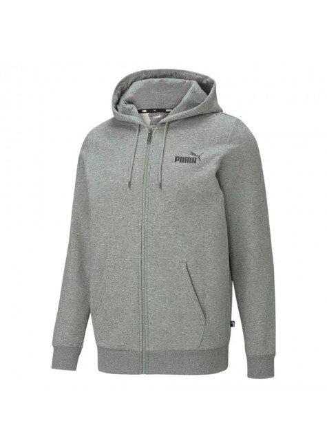 moletom puma essentials full zip logo masculino cinza hyped 91