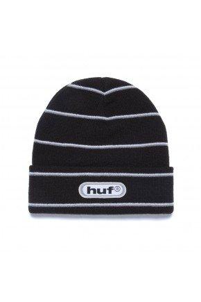 gorro huf logo stripe beanie preto hyped 91
