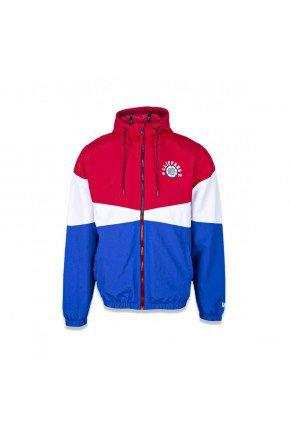 jaqueta corta vento new era nba clippers college blocked azul vermelho branco hyped 91 2