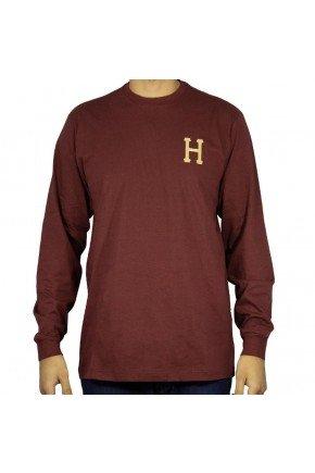 camiseta manga longa huf monograma classic bordo hyped 91 3