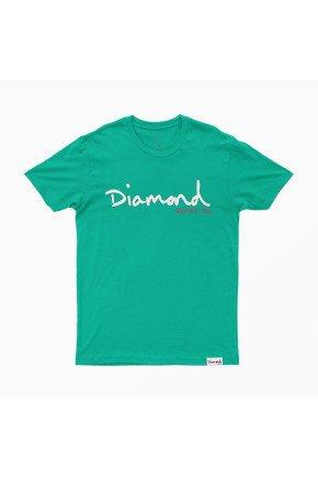 camiseta diamond og script overdye turquoise hyped 91