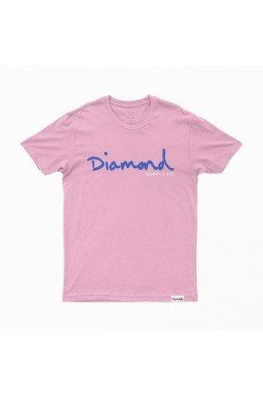 camiseta diamond og script tee rosa azul hyped 91