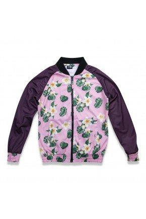 jaqueta feminina new era track floral rosa floral hyped 91