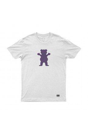 camiseta grizzly og bear branco roxo hyped 91