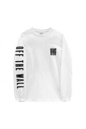 camiseta vans manga longa reflect ls masculina branco preto hyped 91