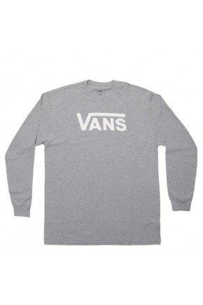 camiseta vans classic manga longa masculina cinza branco hyped 91
