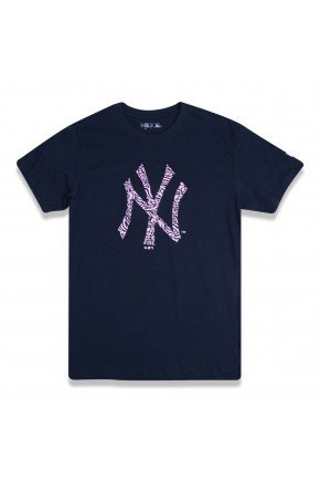 camiseta new era feminina new york yankees mlb azul marinho rosa hyped 91