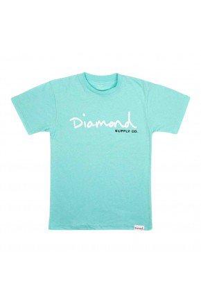 Camiseta Diamond OG Script Tee Feminina   Diamond Blue   hyped 91