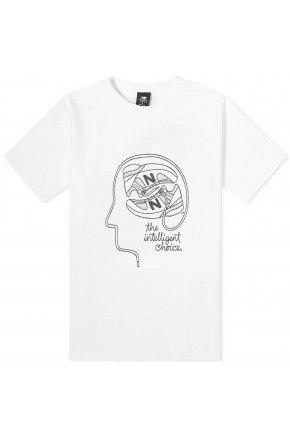 camiseta feminina new balance athletics delorenzo shoes branco hyped 91