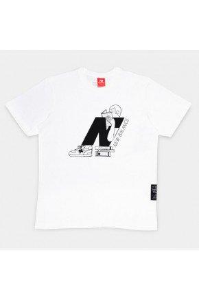 camiseta feminina new balance delorenzo n branco hyped 91