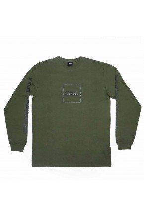camiseta huf manga longa essentials domestic box verde militar hyped 91