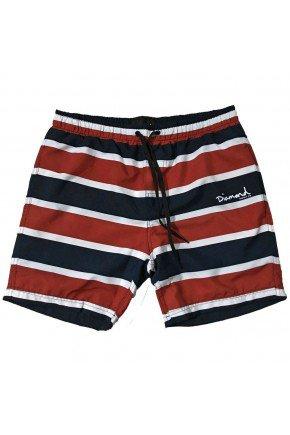 shorts diamond mini og script masculino preto vermelho branco hyped 91