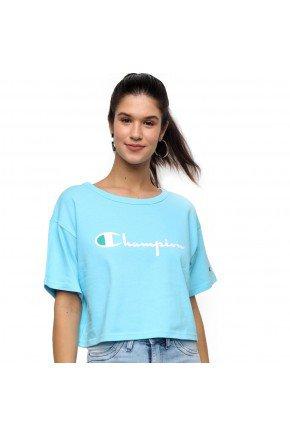 camiseta cropped champion heritage feminina azul horizon hyped 91