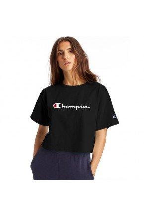 camiseta cropped champion heritage feminina preto hyped 91