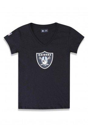 camiseta baby look feminina new era nfl raiders preto hyped 91