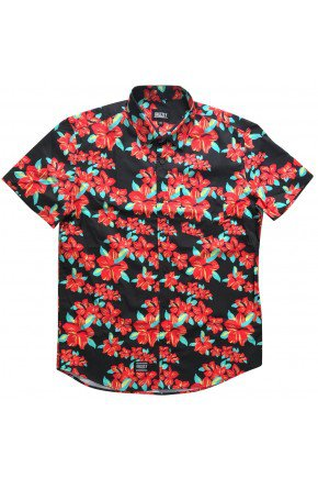 camisa grizzly button up masculina hibisco floral hyped 91