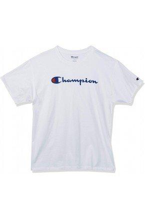 camiseta champion logo script heritage short branca hyped 91