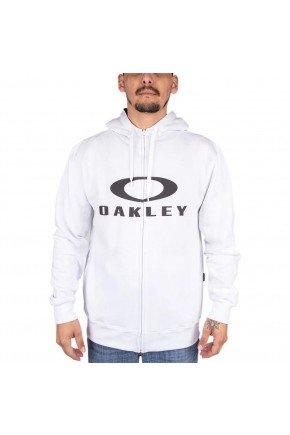 moletom oakley aberto de ziper bark hoodie branco preto hyped 91