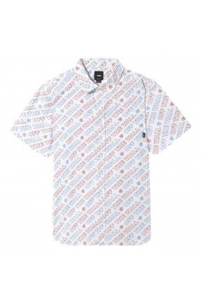 camisa vans dimension ss de botao masculina branco hyped 91